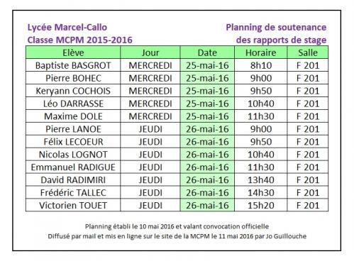 Mcpm 2015 16 planning des soutenances de rapports de stages